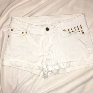 White distressed Studded shorts